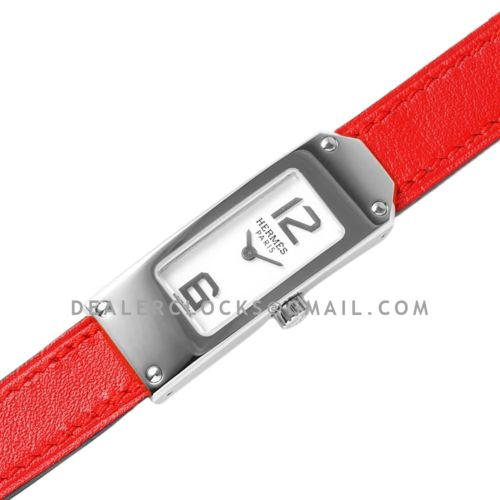 Kelly 2 White Dial in Steel on Red Leather Strap Double Tour