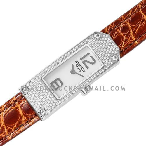Kelly 2 White Dial in Steel with Diamond Paved Bezel on Brown Alligator Strap