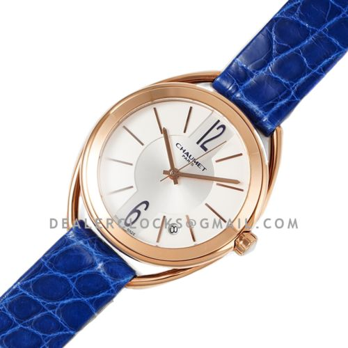 Liens Lumiere White Dial in Rose Gold on Blue Strap