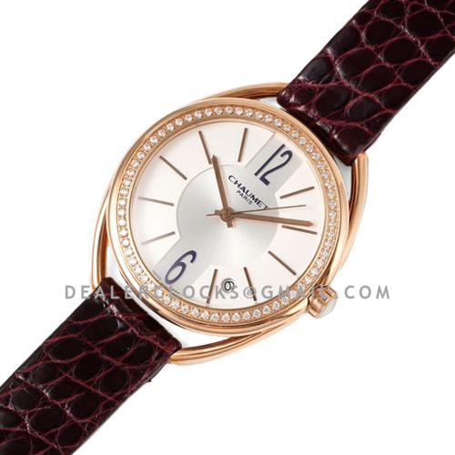 Liens Lumiere White Dial in Rose Gold with Diamond Bezel on Brown Strap