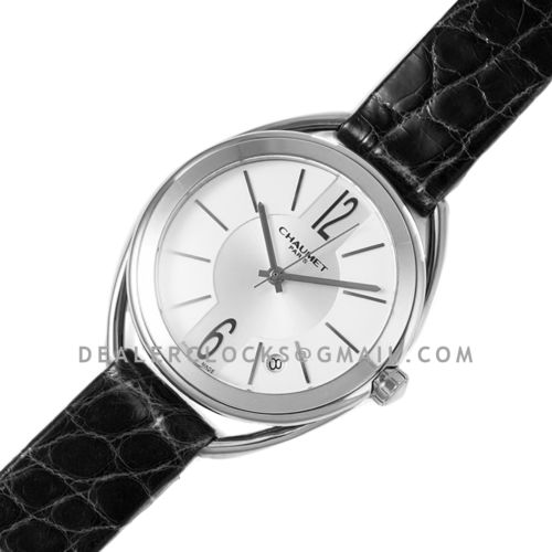 Liens Lumiere White Dial in Steel on Black Strap