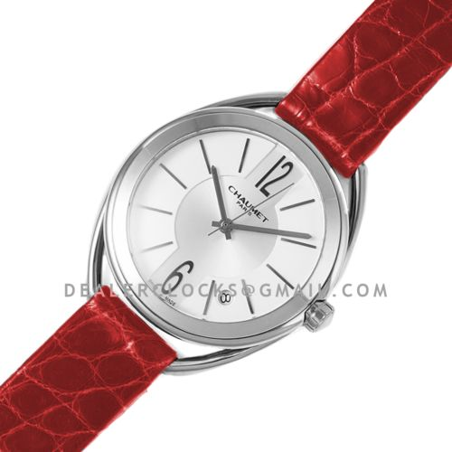 Liens Lumiere White Dial in Steel on Red Strap
