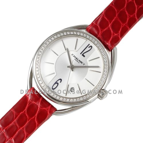 Liens Lumiere White Dial in Steel with Diamond Bezel on Red Strap