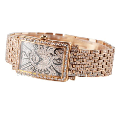 Long Island 952QZ Diamond Paved Dial in Rose Gold with Black Markers
