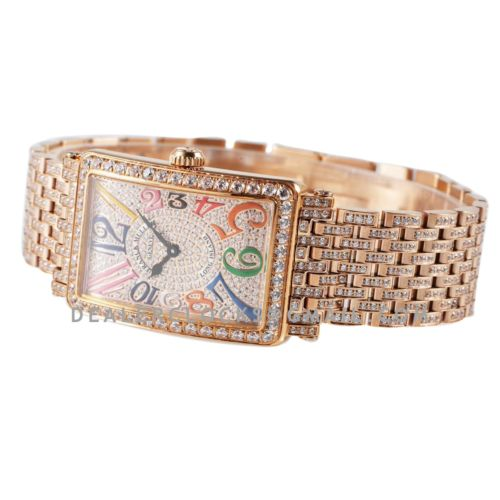 Long Island 952QZ Diamond Paved Dial in Rose Gold with Colourful Markers