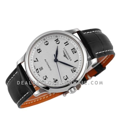 Master Collection White Dial on Black Leather Strap