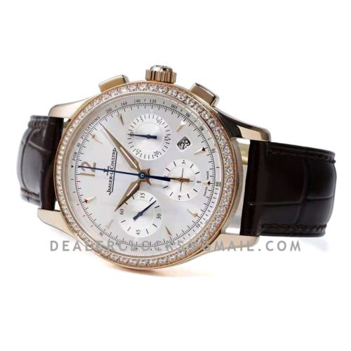 Master Control Chronograph White Dial with Diamond Bezel in Pink Gold