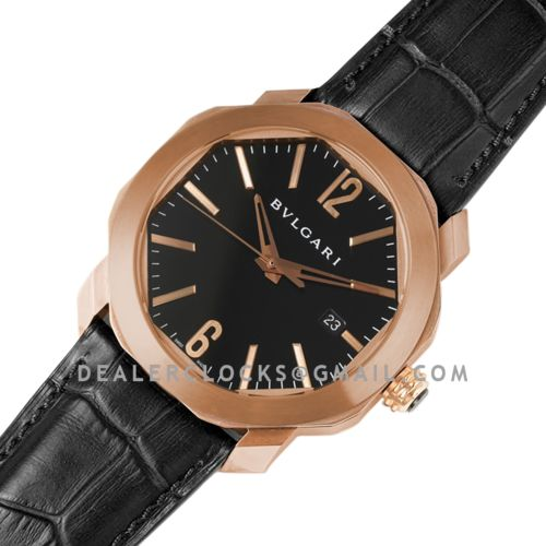 Octo Solotempo Black Dial in Rose Gold on Black Leather Strap