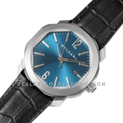 Octo Solotempo Blue Dial in Steel on Black Leather Strap