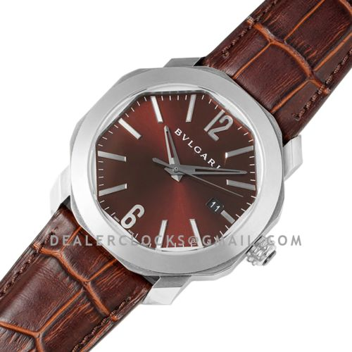 Octo Solotempo Brown Dial in Steel on Black Leather Strap