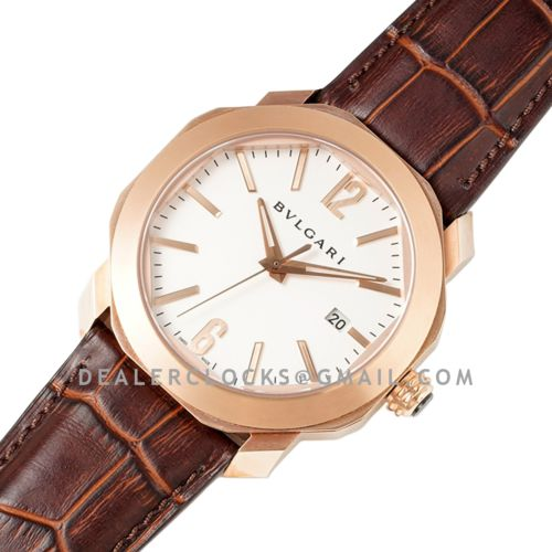Octo Solotempo White Dial in Rose Gold on Black Leather Strap