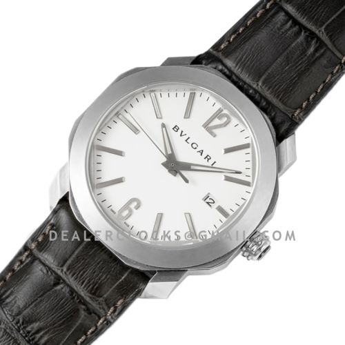 Octo Solotempo White Dial in Steel on Black Leather Strap
