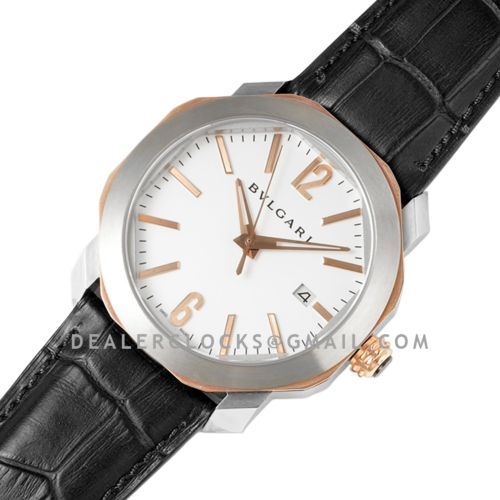 Octo Solotempo White Dial in Steel/Rose Gold on Black Leather Strap