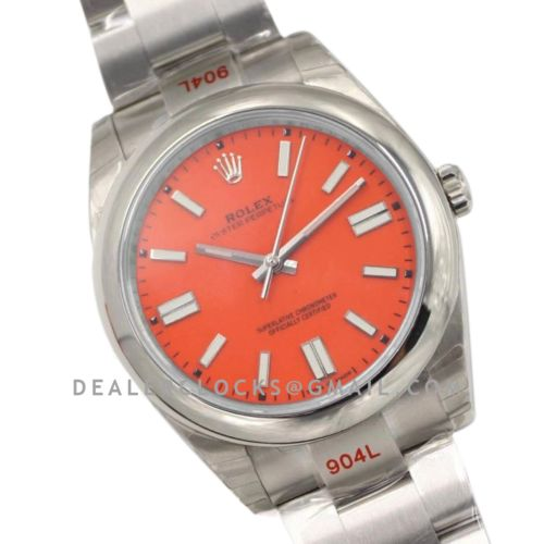 Oyster Perpetual 41mm Red Coral Dial 114300