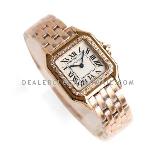 Panthère De Cartier 22mm White Dial in Rose Gold with Diamond Bezel