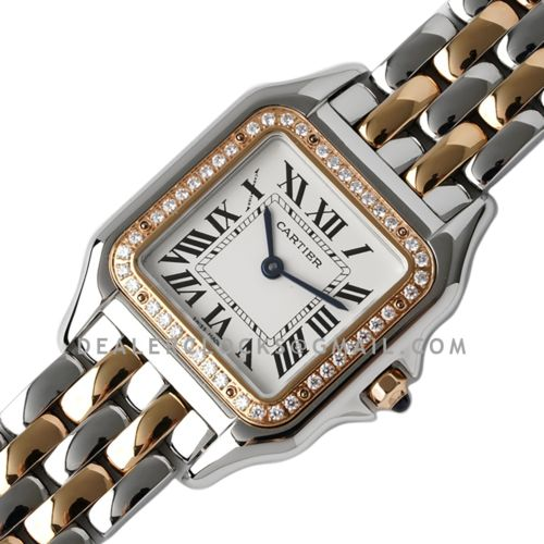 Panthère De Cartier 27mm White Dial in Steel/Rose Gold with Diamond Bezel