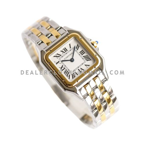 Panthère De Cartier 27mm White Dial in Steel/Yellow Gold