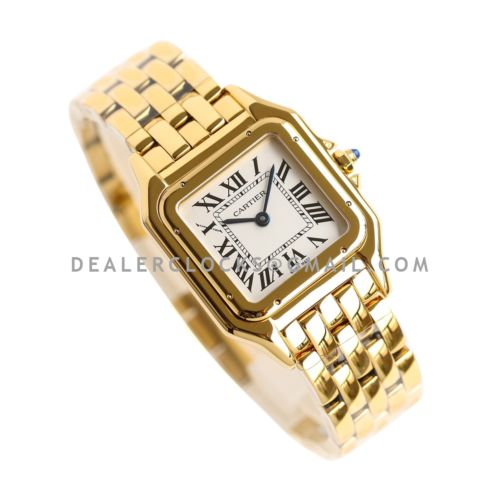 Panthère De Cartier 27mm White Dial in Yellow Gold