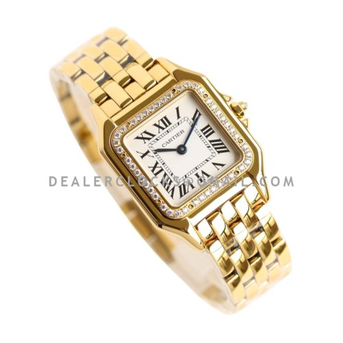 Panthère De Cartier 27mm White Dial in Yellow Gold with Diamond Bezel