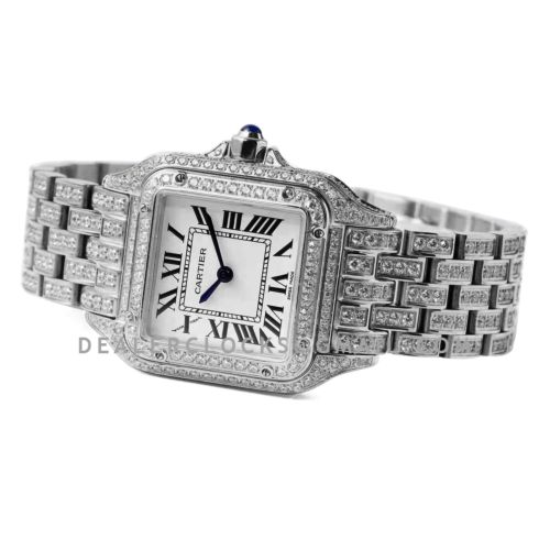 Panthère De Cartier 28mm White Dial in White Gold with Diamonds