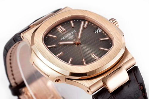Nautilus Jumbo 5711 Brown Dial in Rose Gold with Brown Leather Strap