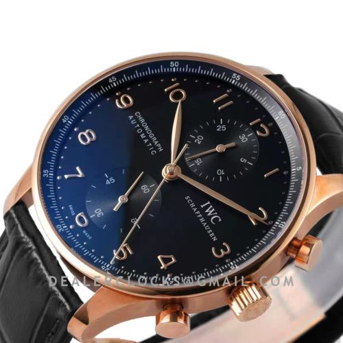 Portugieser Chronograph IW371482 Black Dial in Rose Gold