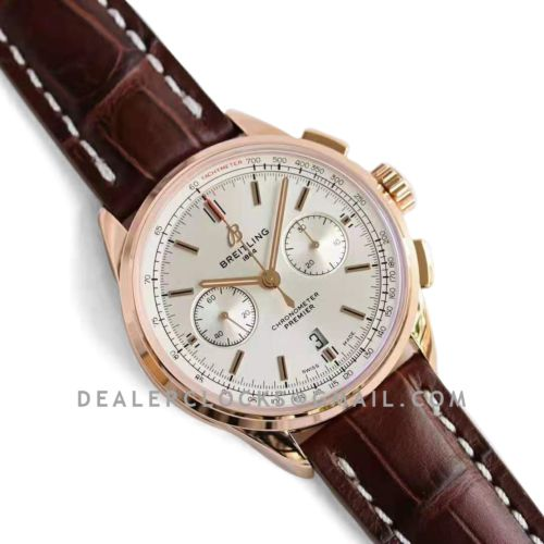 Premier B01 Chronograph 42 Silver Dial in Red Gold Ref: RB0118371G1P1