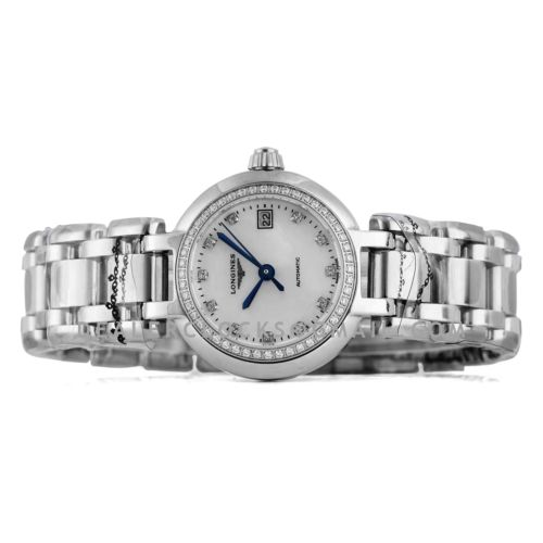 Primaluna MOP White Dial with Diamond Markers and Diamond Bezel