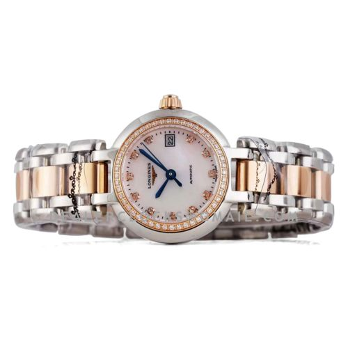 Primaluna MOP White Dial with Diamond Markers and Diamond Bezel in Rose Gold