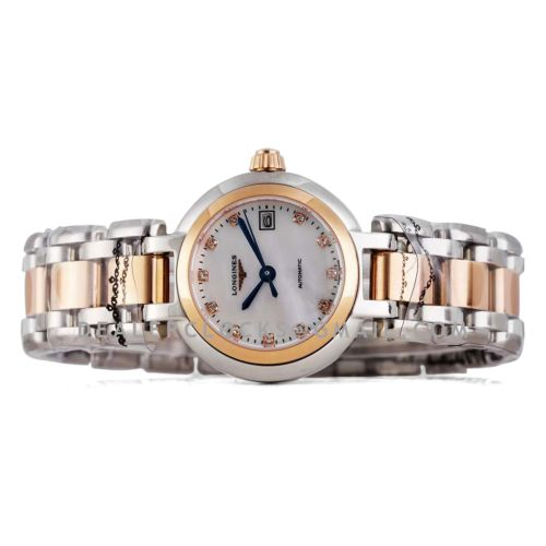 Primaluna MOP White Dial with Diamond Markers in Rose Gold