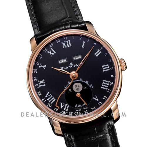 Quantième Complet 8 Jours Black Dial with Roman Markers in Rose Gold