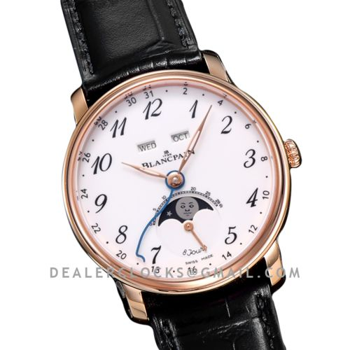 Quantième Complet 8 Jours White Dial with Numeral Markers in Rose Gold
