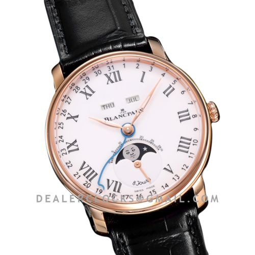 Quantième Complet 8 Jours White Dial with Roman Markers in Rose Gold