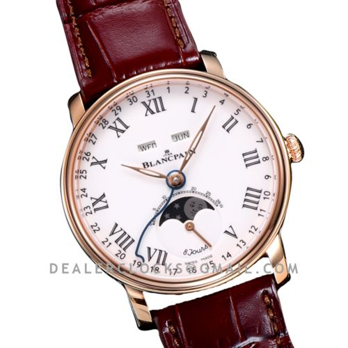 Quantième Complet 8 Jours White Dial with Roman Markers in Rose Gold on Brown Leather Strap