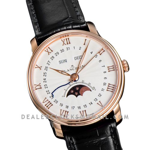 Quantième Complet White Dial in Rose Gold on Black Leather Strap