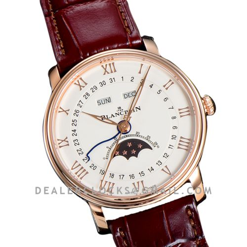 Quantième Complet White Dial in Rose Gold on Brown Leather Strap
