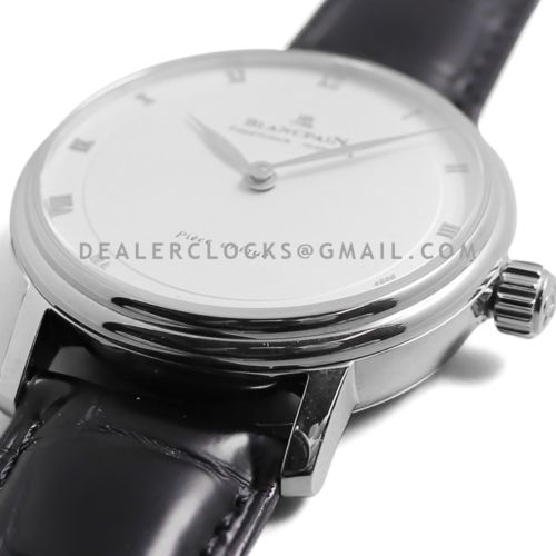 Répétition Minutes White Dial in Steel on Black Leather Strap