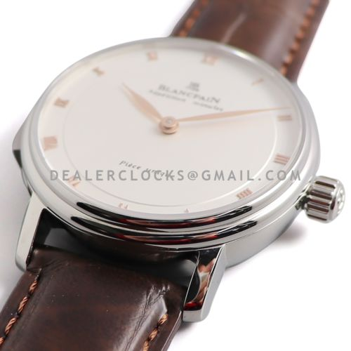 Répétition Minutes White Dial in Steel on Brown Leather Strap