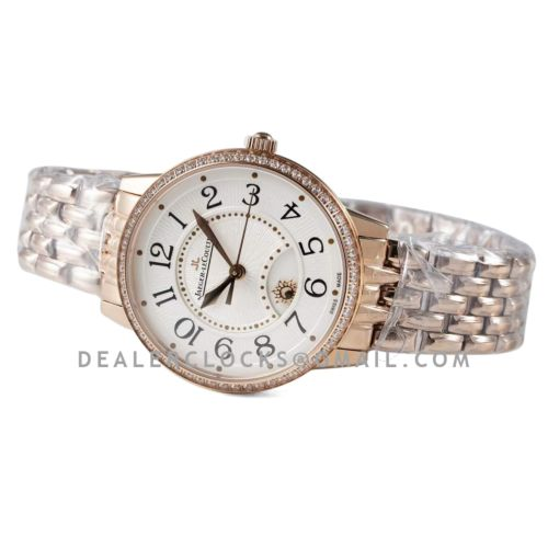 Rendez-vous Classic Night & Day 34mm White Dial with Diamond Bezel in Rose Gold on Bracelet