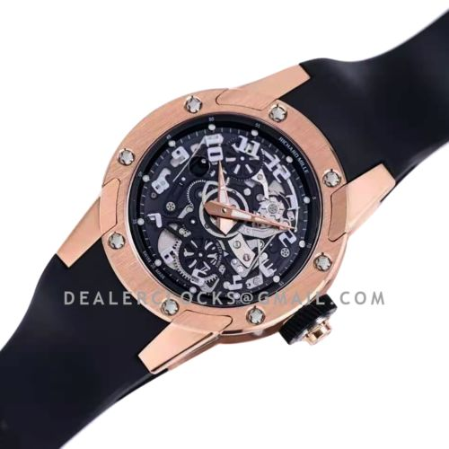 RM063-01 Automatic Winding Dizzy Hands in Red Gold/Titanium on Black Rubber Strap