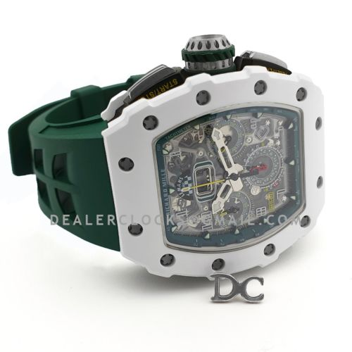 RM 011-02 Le Mans Classic Chronograph in Green on Green Rubber Strap