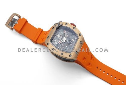 RM 011 Automatic Flyback Chronograph in Rose Gold / Titanium on Orange Rubber