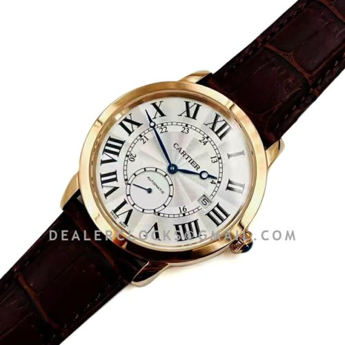 Ronde Louis de Cartier 41mm White Dial in Pink Gold