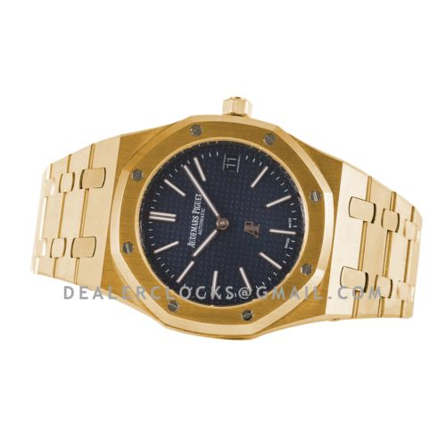 Royal Oak 15202 39mm Blue Dial in Yellow Gold