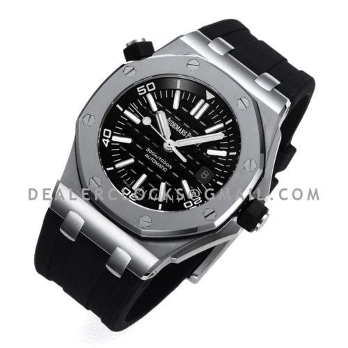 Royal Oak Offshore Diver Steel 15703 with Rubber Strap