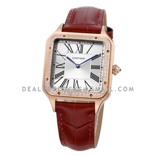 Santos-Dumont 49mm Silver Dial with Diamond Bezel in Rose Gold on Brown Leather Strap