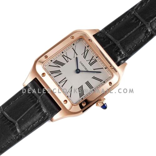 Santos-Dumont White Dial in Rose Gold on Black Leather Strap