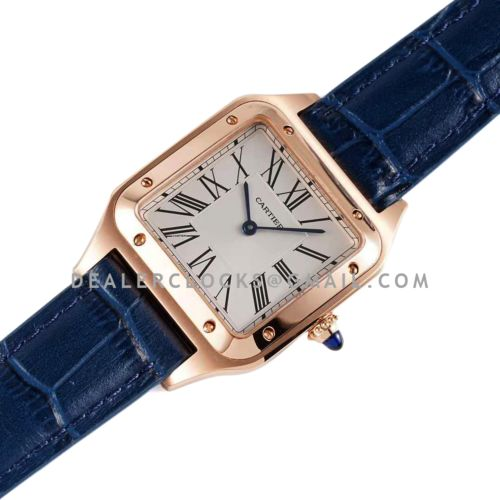 Santos-Dumont White Dial in Rose Gold on Blue Leather Strap