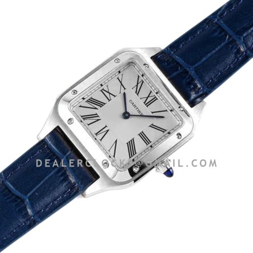 Santos-Dumont White Dial in Steel on Blue Leather Strap