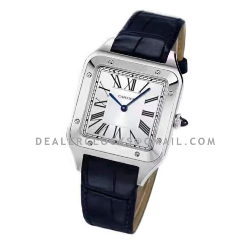 Santos-Dumont XL White Dial in Steel on Black Leather Strap